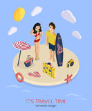 It's travel time 3d isometric pixel design concept. With man and woman standing on the beach. Vector illustration for web banners and website infographics royalty free illustration