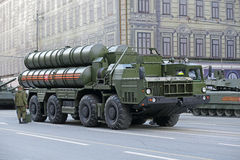 The S-400 Triumf anti-aircraft system. MOSCOW, RUSSIA - MAY 05, 2016: Rehearsal celebration of the 69th anniversary of the Victory Day (WWII). Military equipment Stock Images
