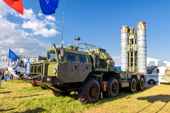 The S-400 Triumf russian anti-aircraft weapon system. Moscow Region - July 21, 2017: The S-400 Triumf russian anti-aircraft weapon system at the International Royalty Free Stock Photography