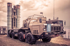 S-400 Triumf russian anti-aircraft weapon system. Moscow Region - July 21, 2017: The S-400 Triumf russian anti-aircraft weapon system at the International Stock Photos