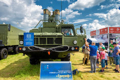 S-400 Triumf russian missile system at MAKS-2017. Moscow Region - July 21, 2017: Visitors examine the S-400 Triumf russian missile system at the International Royalty Free Stock Photos
