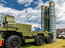 The S-400 Triumf russian system at MAKS-2017. Moscow Region - July 21, 2017: The S-400 Triumf russian anti-aircraft weapon system at the International Aviation Royalty Free Stock Image