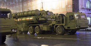 S-400 Triumf (SA-21 Growler)Russian anti-aircraft missile system. Rehearsal of military parade (at night), Moscow, Russia. (on May 04, 2015).Celebration of the Royalty Free Stock Photo
