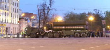 S-400 Triumf (SA-21 Growler)Russian anti-aircraft missile system. Rehearsal of military parade (at night), Moscow, Russia. (on May 04, 2015).Celebration of the Royalty Free Stock Image