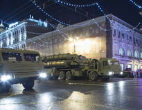 S-400 Triumf (SA-21 Growler)Russian anti-aircraft missile system. Rehearsal of military parade (at night), Moscow, Russia Stock Photo