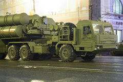 S-400 Triumf (SA-21 Growler)Russian anti-aircraft missile system. Rehearsal of military parade (at night), Moscow, Russia Stock Photos