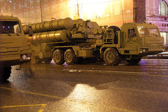 S-400 Triumf (SA-21 Growler)Russian anti-aircraft missile system. Rehearsal of military parade (at night), Moscow, Russia Royalty Free Stock Images
