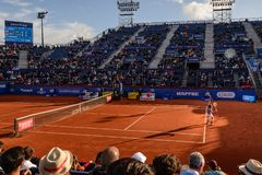 S Tsitsipas player in The Barcelona Open, an annual tennis tournament for male professional player. Barcelona, Spain; 04 25 2019: S, Tsitsipas player in The stock image