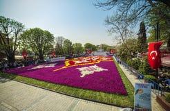 ` S Tulip Carpet más grande del mundo en Estambul foto de archivo libre de regalías