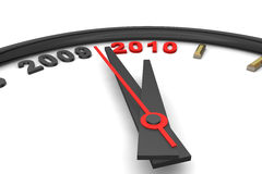 It's Turning 2010. Clock depicting the new year 2010 Stock Photography