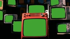 80s TV con la pantalla verde Enfoque adentro almacen de metraje de vídeo