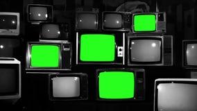 80s Tvs Z zieleń ekranem Zoom out Czarny i biały brzmienie zbiory wideo