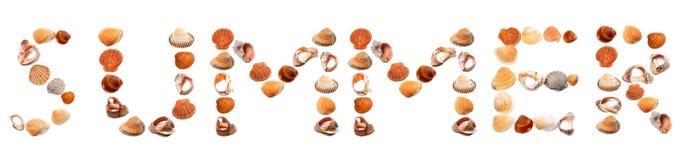 S U M M E R text composed of seashells Stock Image