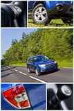 S.U.V. car collage. A collage of photos of a S.U.V. car with fast moving car as a main element royalty free stock image