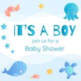 ` s un ragazzo Invito della doccia di bambino nello stile marino Immagine Stock Libera da Diritti