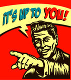 It's up to you! Retro businessman with pointing finger call to action  illustration Stock Image