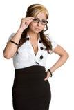 s'user de lunettes de femme d'affaires image stock