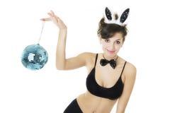 s'user de play-boy de fille de lapin de brunette image libre de droits