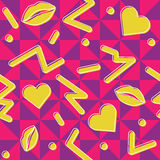80's Valentine's Pattern. Retro styled seamless pattern with and 80's vibe. It has a triangles background royalty free illustration