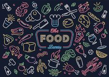Neon food vector art illustration. It`s a vector illustration depicting different food ingredients as fruit and meat for those who love to cook Royalty Free Stock Photo
