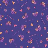 80s vector seamless pattern with hearts and geometric motifs. Colored hearts, Valentines day background. Vector Abstract royalty free illustration