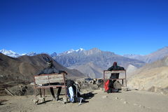 That`s a View. A friend and I taking a short break while Hiking in the Himalayas Royalty Free Stock Images
