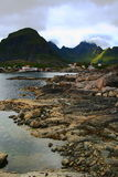 A's village in the lofoten islands. By a cloudy day Royalty Free Stock Photos