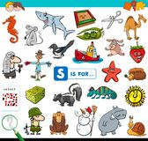 S is voor onderwijsspel voor kinderen royalty-vrije stock afbeelding