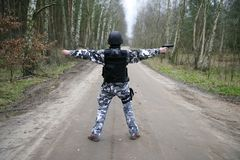 S.W.A.T soldier. A lonely S.W.A.T ranger in the forest Royalty Free Stock Images