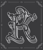 White on black vector illustration of capital letter K Stock Photos