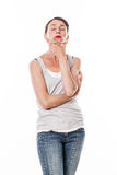 30s woman standing for meditation and profound reflection Stock Photos