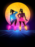 1980`s Women Dancers Background. Women dressed up 1980`s fashion. Retro dance background design. Vector illustration Royalty Free Illustration