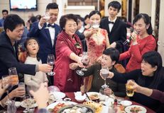 Happy Chinese traditional wedding family royalty free stock images