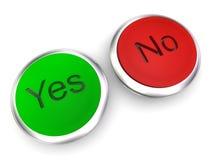Sí y ningunos botones Imagenes de archivo