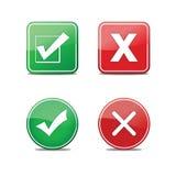 Sí y ningunos iconos del vector Foto de archivo