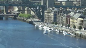 17s yacht floating on Tyne river. A yacht floating on a Tyne river.  Newcastle upon tyne riverside view stock video