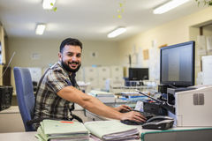 30s young hipster man style working Stock Images