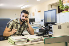 30s young hipster man style working at office Stock Image