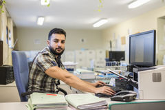 30s young hipster man style working at office Stock Photos