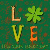 It's Your Lucky Day- concept inspiration  card. St. Patric Stock Images