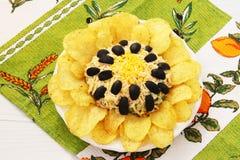 Sałatka w postaci słonecznika, dekorującego z frytkami lokalizować na talerzu obraz royalty free