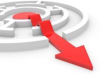 Saída da seta do labirinto Solução inteligente Imagem de Stock