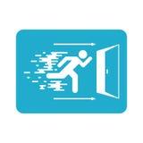 A saída de emergência assina a indicação do sentido de caso que perigo Fotografia de Stock Royalty Free