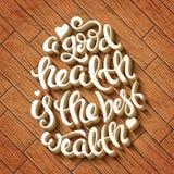 A saúde é a melhor riqueza ilustração stock