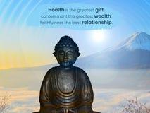 A saúde é o grande presente, satisfacção a grande riqueza, fidelidade o melhor relacionamento ilustração royalty free