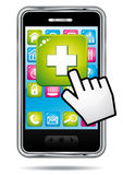 Saúde app em um smartphone.