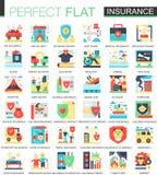 Saúde, carro, símbolos lisos complexos do conceito do ícone do vetor do seguro da casa para o projeto infographic da Web Fotografia de Stock Royalty Free