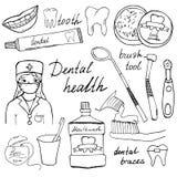 A saúde dental rabisca os ícones ajustados Entregue o esboço tirado com dentes, colutório do dentista da escova de dentes do dent Foto de Stock