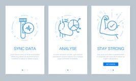 Saúde e conceito médico que onboarding telas do app O procedimento moderno e simplificado da ilustração do vetor seleciona o mold ilustração stock