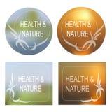 A saúde e a natureza Vector o fundo, grupo decorativo do quadro Fotos de Stock Royalty Free